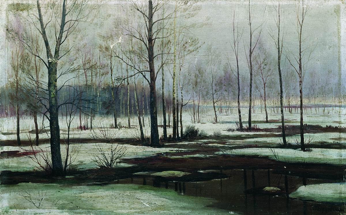 Ефим Волков картина Зимний пейзаж холст масло