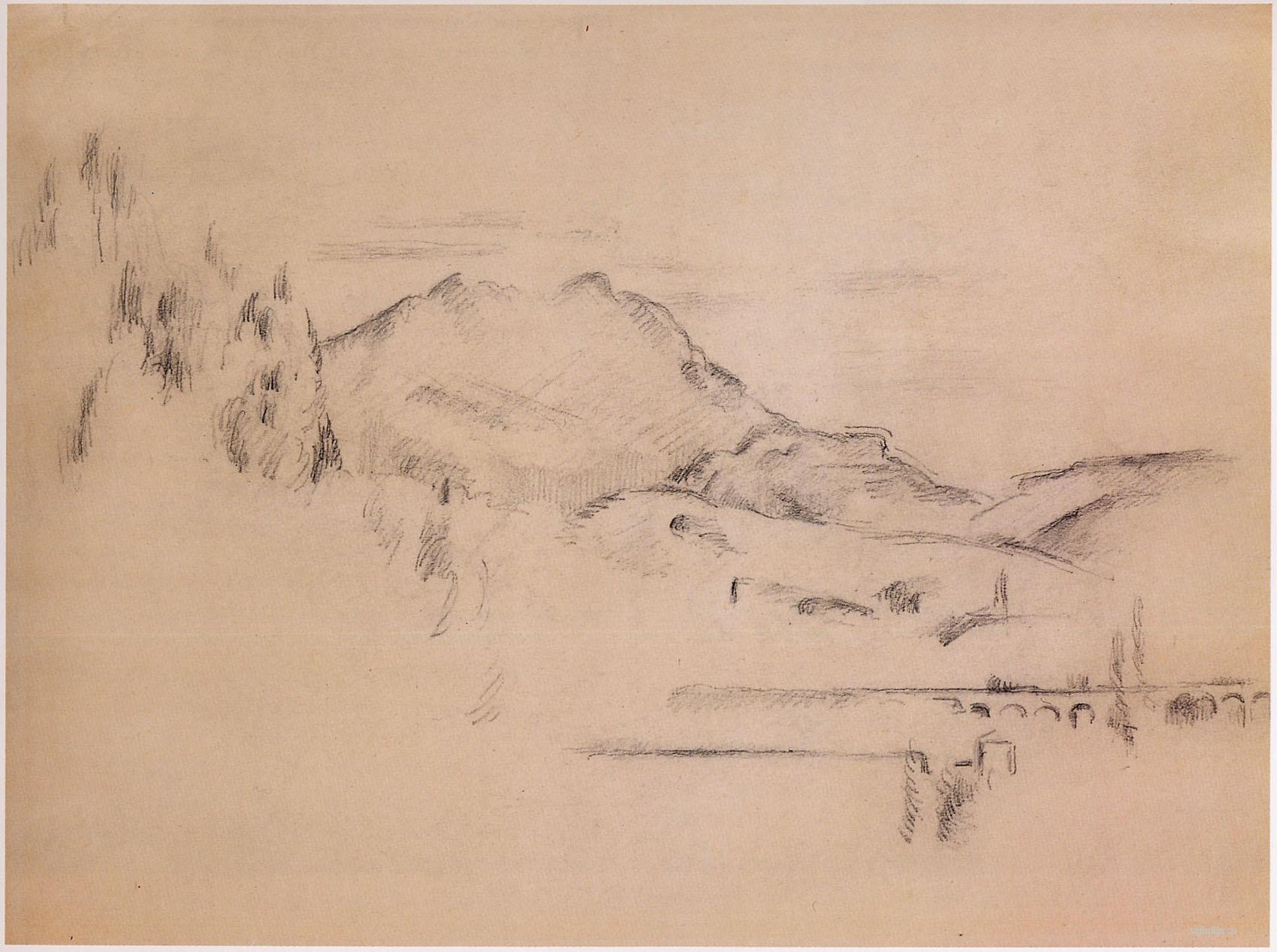 Сезанн рисунок La-Montagne Sainte-Victoire пейзажи природы Сафиуллин