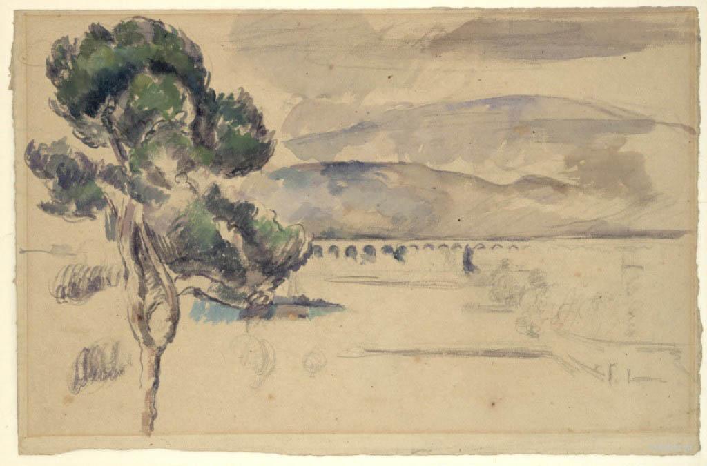Сезанн рисунок Viaduct and a Pine Tree Пейзажи природы Сафиуллин акварель 1883