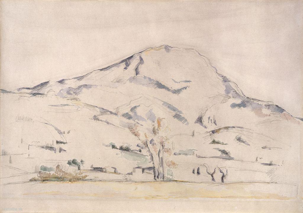 Сезанн рисунок La Montagne Sainte-Victoire Акварель пейзаж Сафиуллин