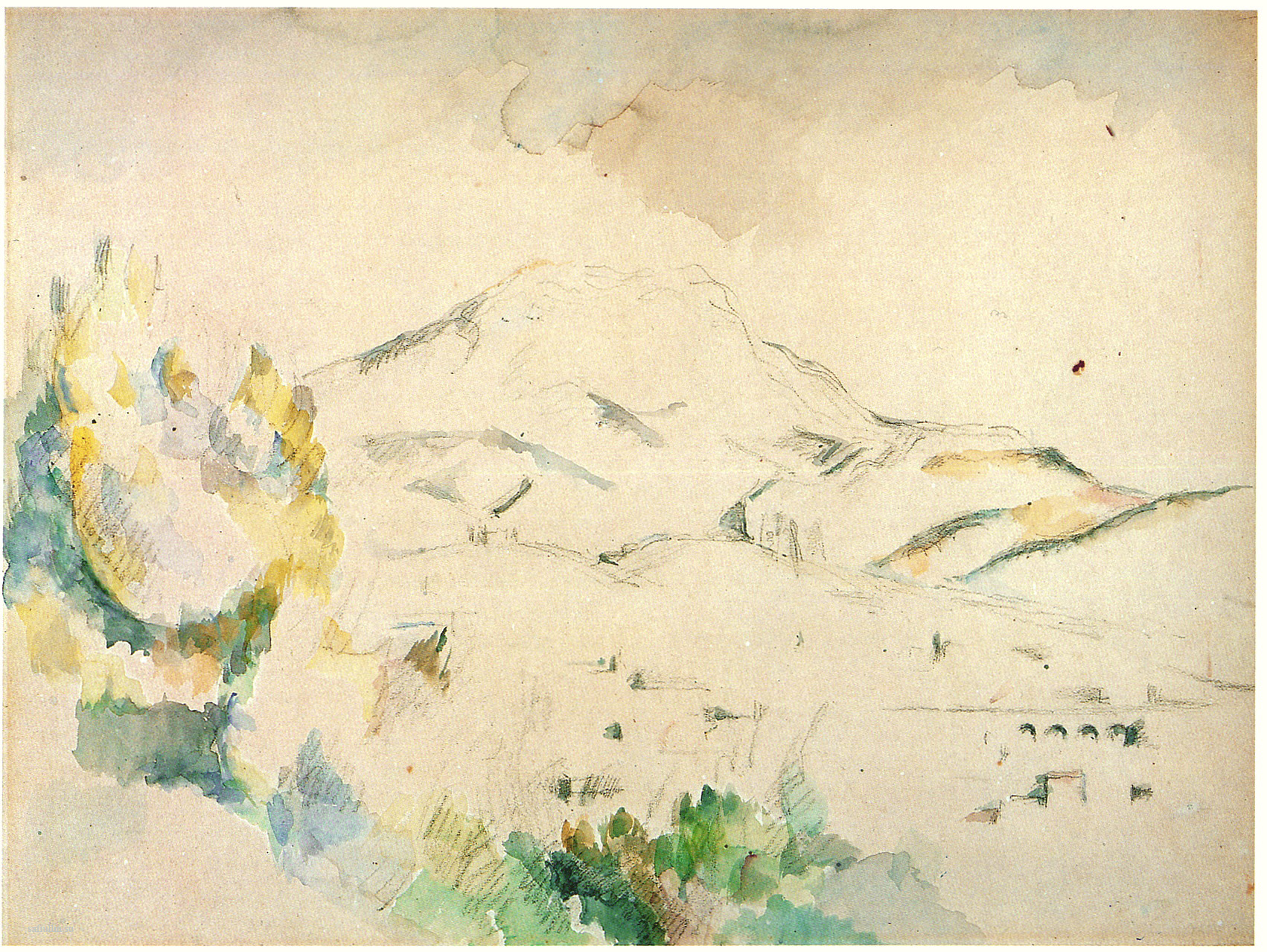 Сезанн рисунок La Montagne Sainte-Victoire пейзажи природы Сафиуллин Акварель 1885