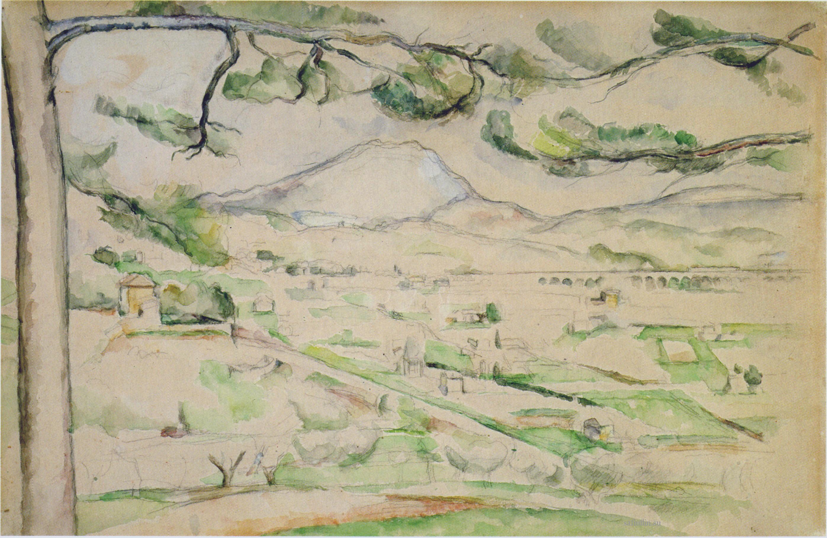 Сезанн рисунок Сент Виктуар La Vallée пейзаж Сафиуллин