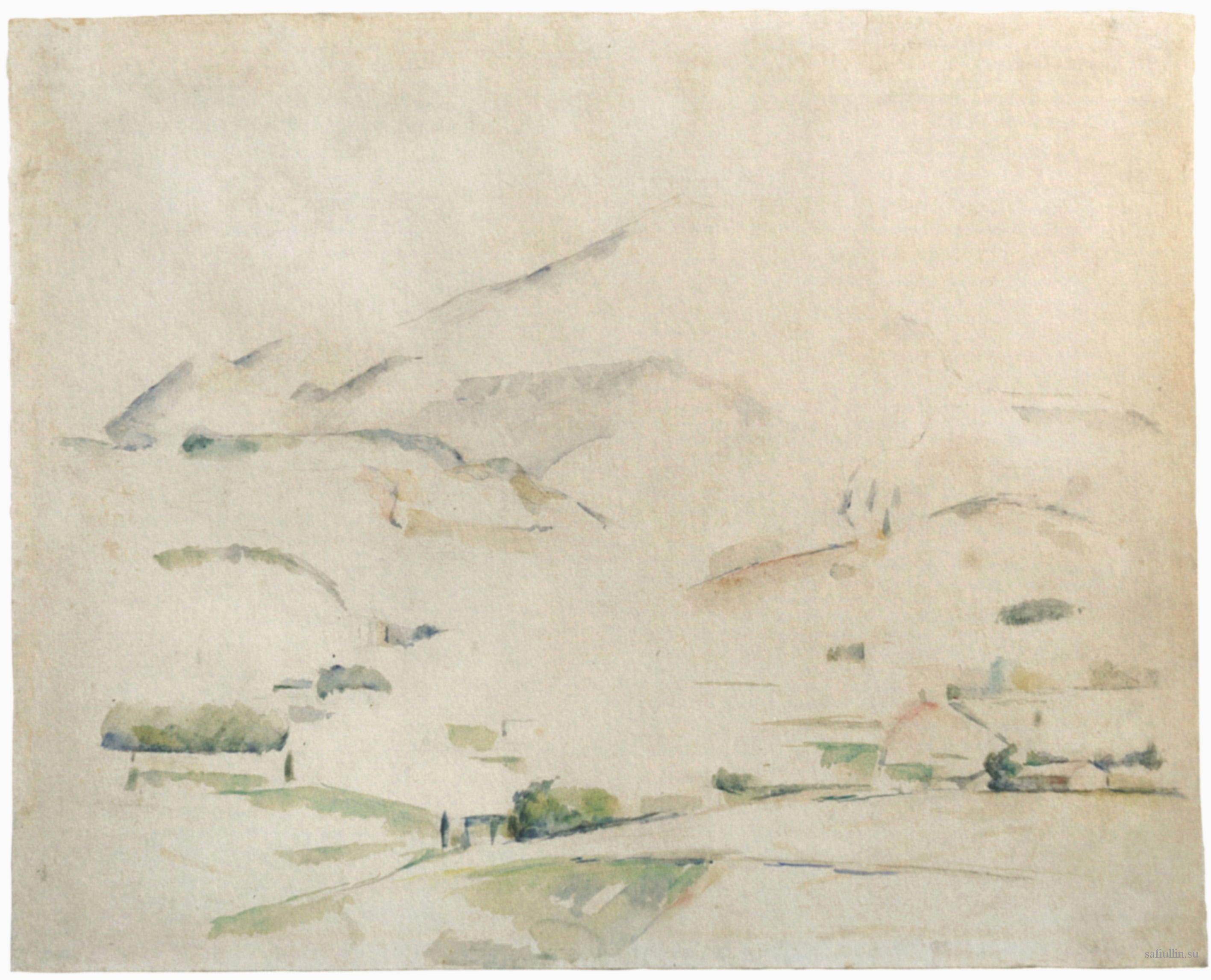 Сезанн рисунок La Montagne Sainte-Victoire пейзажи природы Сафиуллин акварель 1888