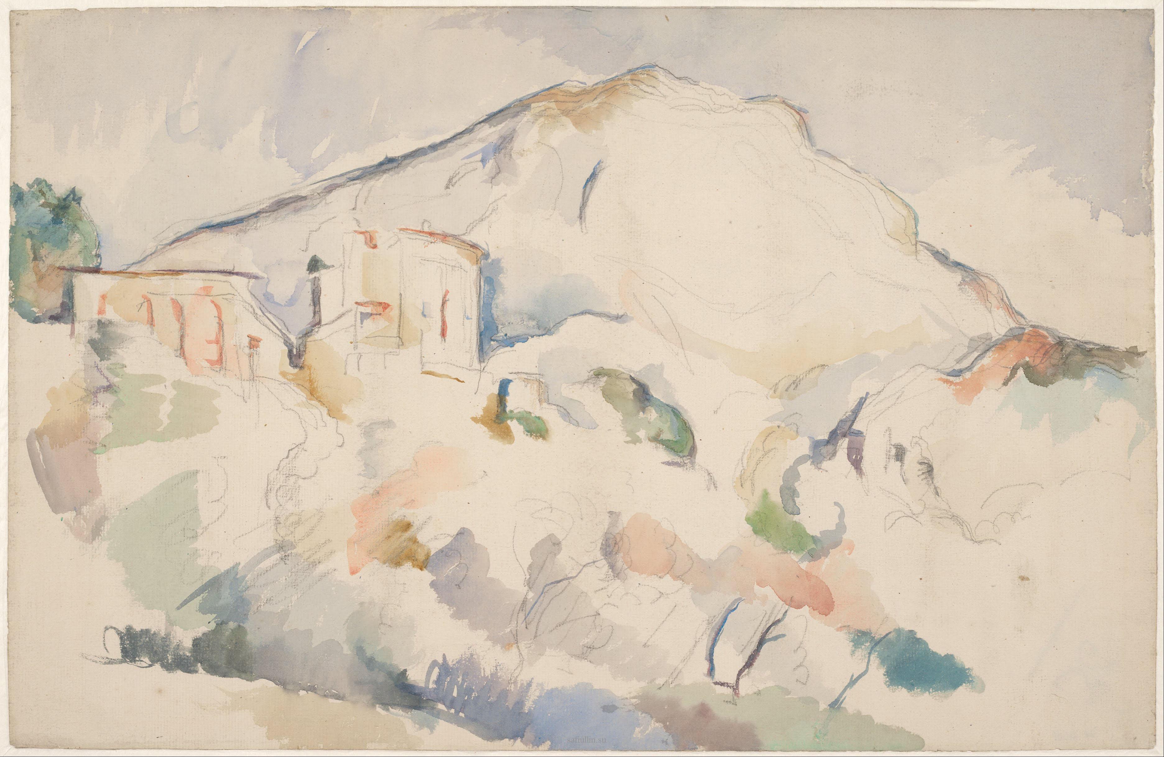 Сезанн рисунок Mountain Sainte-Victoire пейзажи природы Сафиуллин акварель 1890