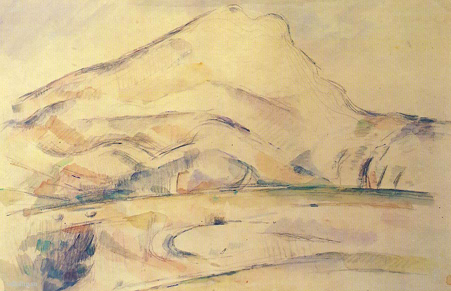 Сезанн рисунок Montagne Saint Victiore пейзажи природы Сафиуллин акварель 1890