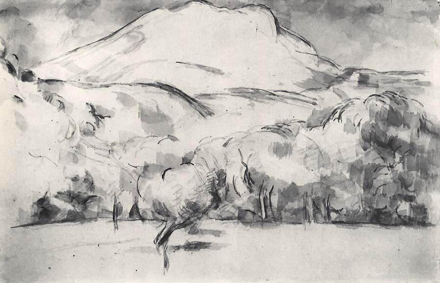 Сезанн рисунок Montagne Saint-Victiore пейзажи природы Сафиуллин акварель 1890