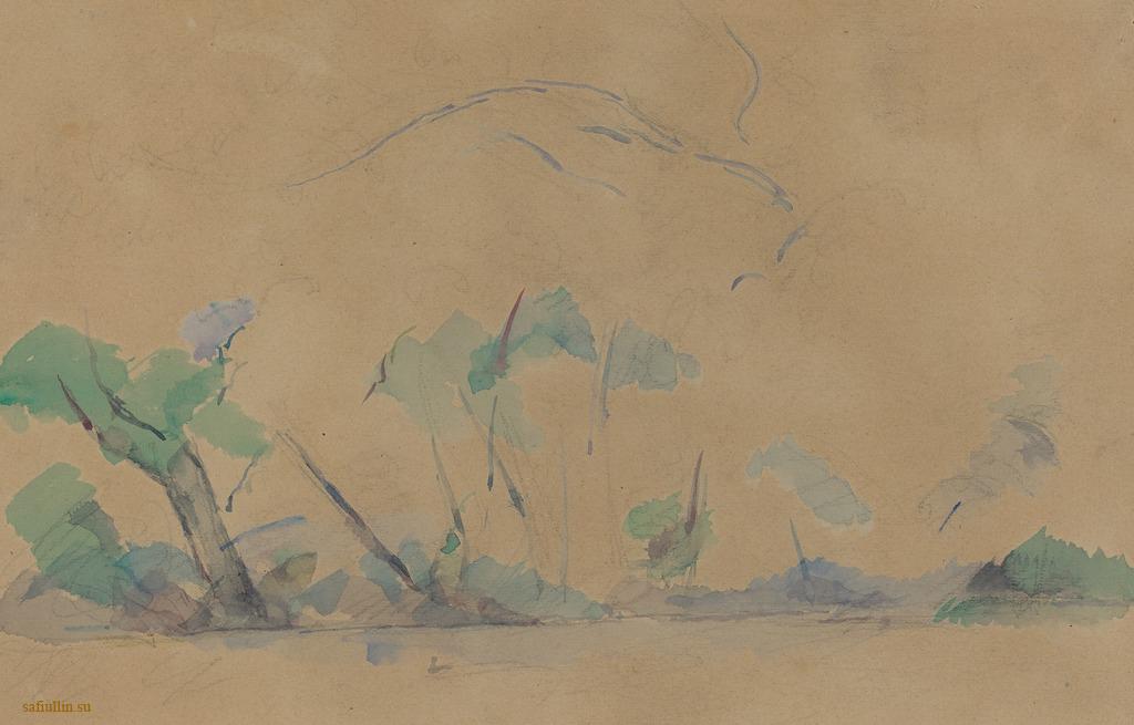 Сезанн рисунок Mont-Sainte-Victoire пейзажи природы Сафиуллин Акварель 1895