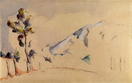 Сезанн рисунок Montagne Sainte-Victoire пейзажи природы Сафиуллин акварель 1895
