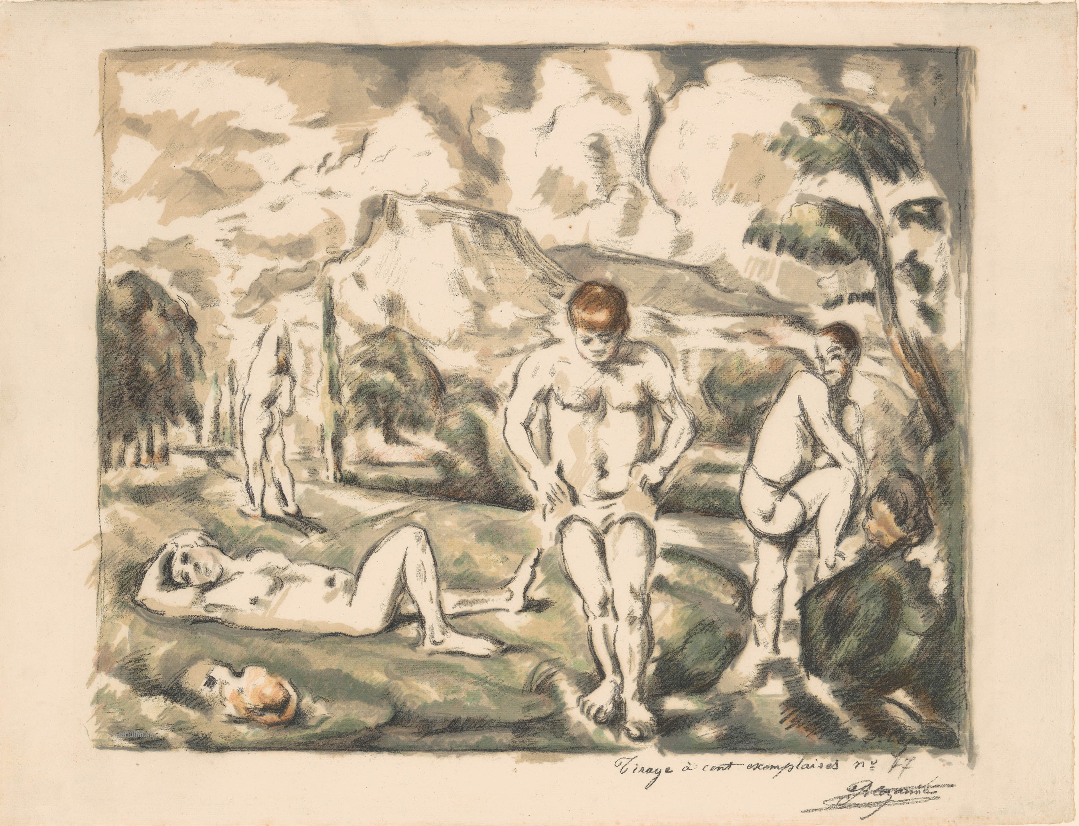 Сезанн рисунок The Large Bathers (Les Baigneurs) пейзажи природы Сафиуллин литография 1898