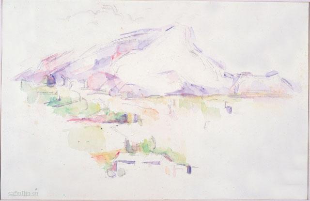 Сезанн рисунок La Montagne Sainte-Victoire пейзажи природы Сафиуллин акварель