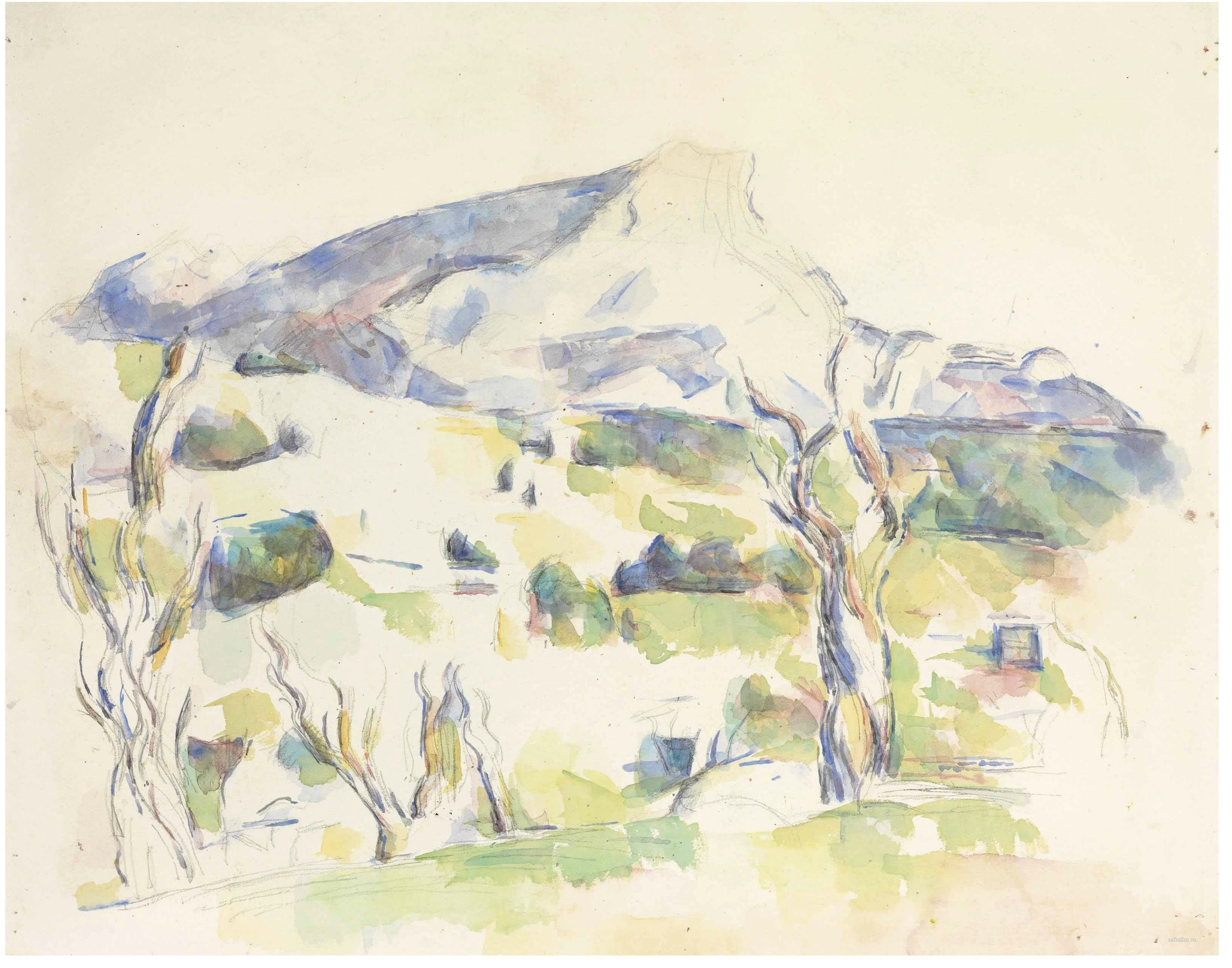 Сезанн рисунок Sainte-Victoire vue des Lauves пейзажи природы Сафиуллин акварель