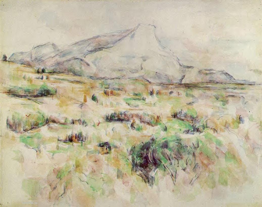 Сезанн рисунок Mont Sainte-Victoire пейзажи природы Сафиуллин Акварель