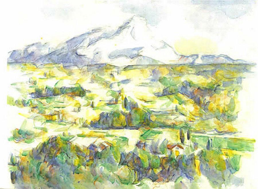 Сезанн рисунок Sainte-Victoire пейзажи природы Сафиуллин акварель