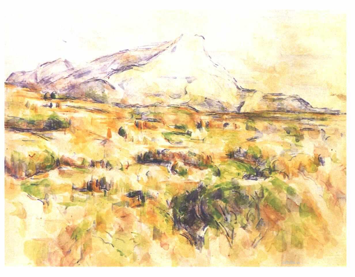 Сезанн рисунок Гора Сент-Виктуар пейзажи природы Сафиуллин акварель 1902