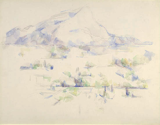 Сезанн рисунок La Montagne Sainte-Victoire пейзажи природы Сафиуллин 1902