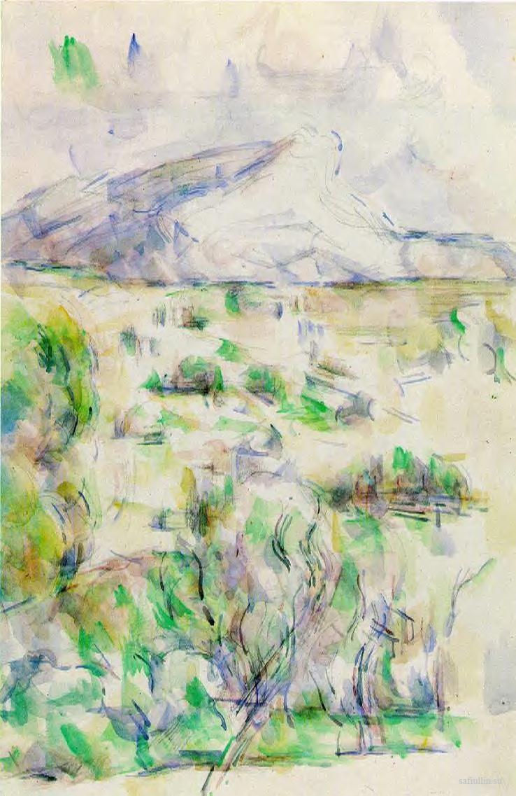 Сезанн рисунок Вид на гору Сент-Виктуар пейзажи природы Сафиуллин акварель