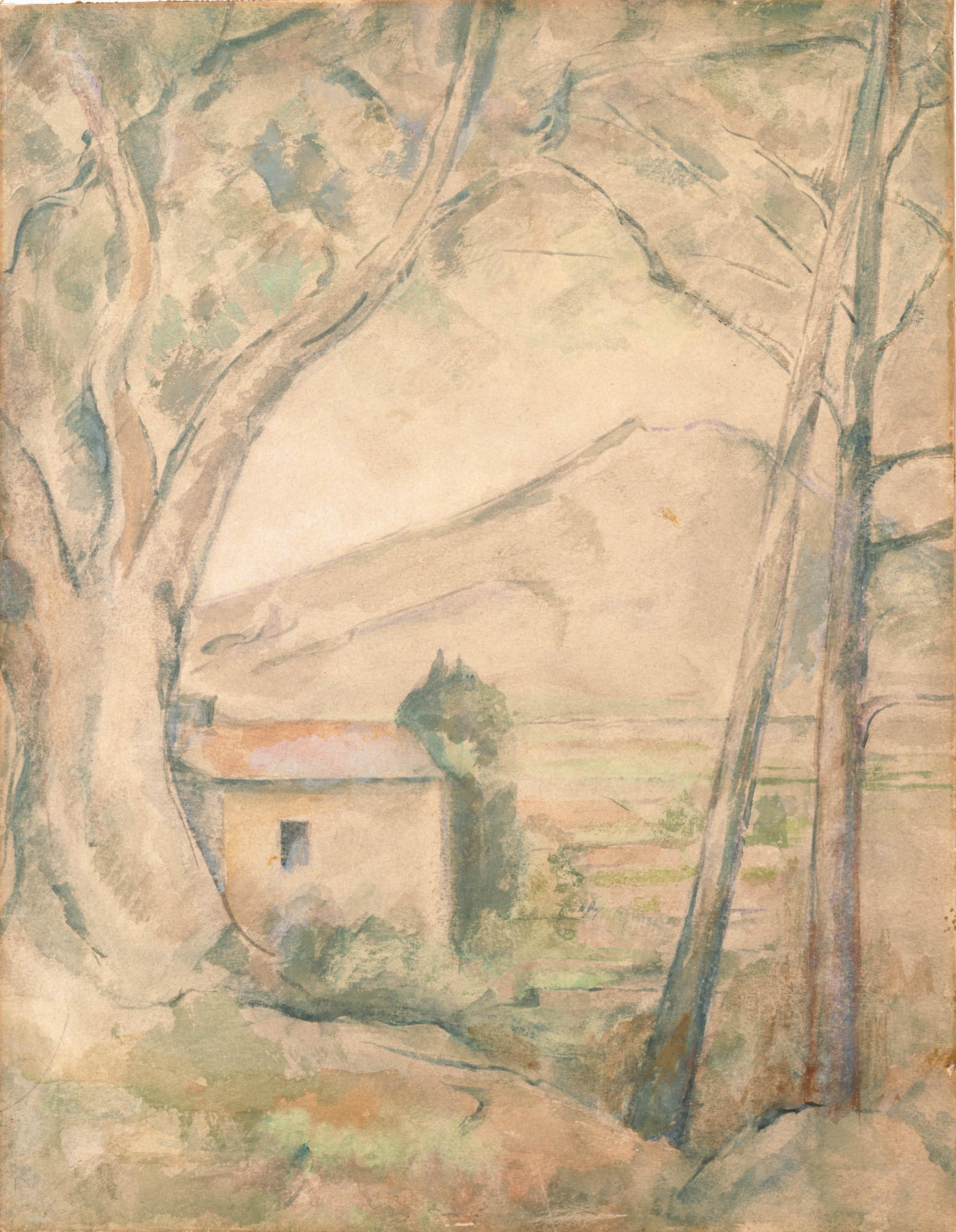 Сезанн рисунок Mont Sainte-Victoire пейзажи природы Сафиуллин акварель 1904