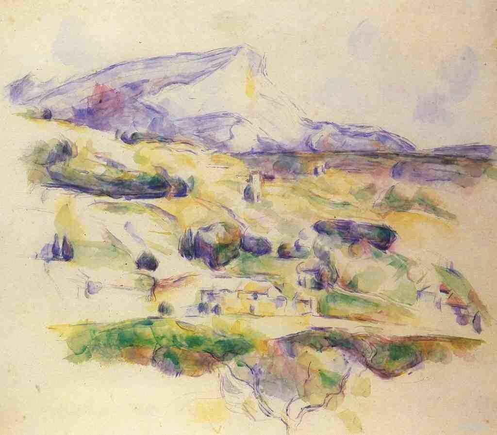 Сезанн рисунок Гора Сент-Виктуар пейзажи природы Сафиуллин Акварель