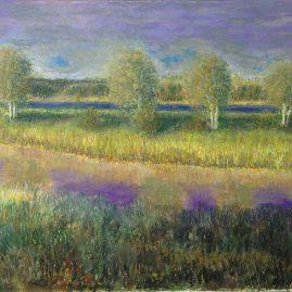 Речной пейзаж рисунок Река Лиелупе Сафиуллин