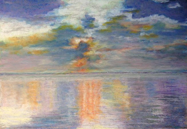 Закатный штиль в Индийском океане (пастель/картон)