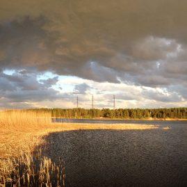 Речной пейзаж грозовые тучи весна природа Альберт Сафиуллин