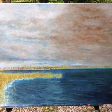 Речной пейзаж с радугой — новая картина в работе