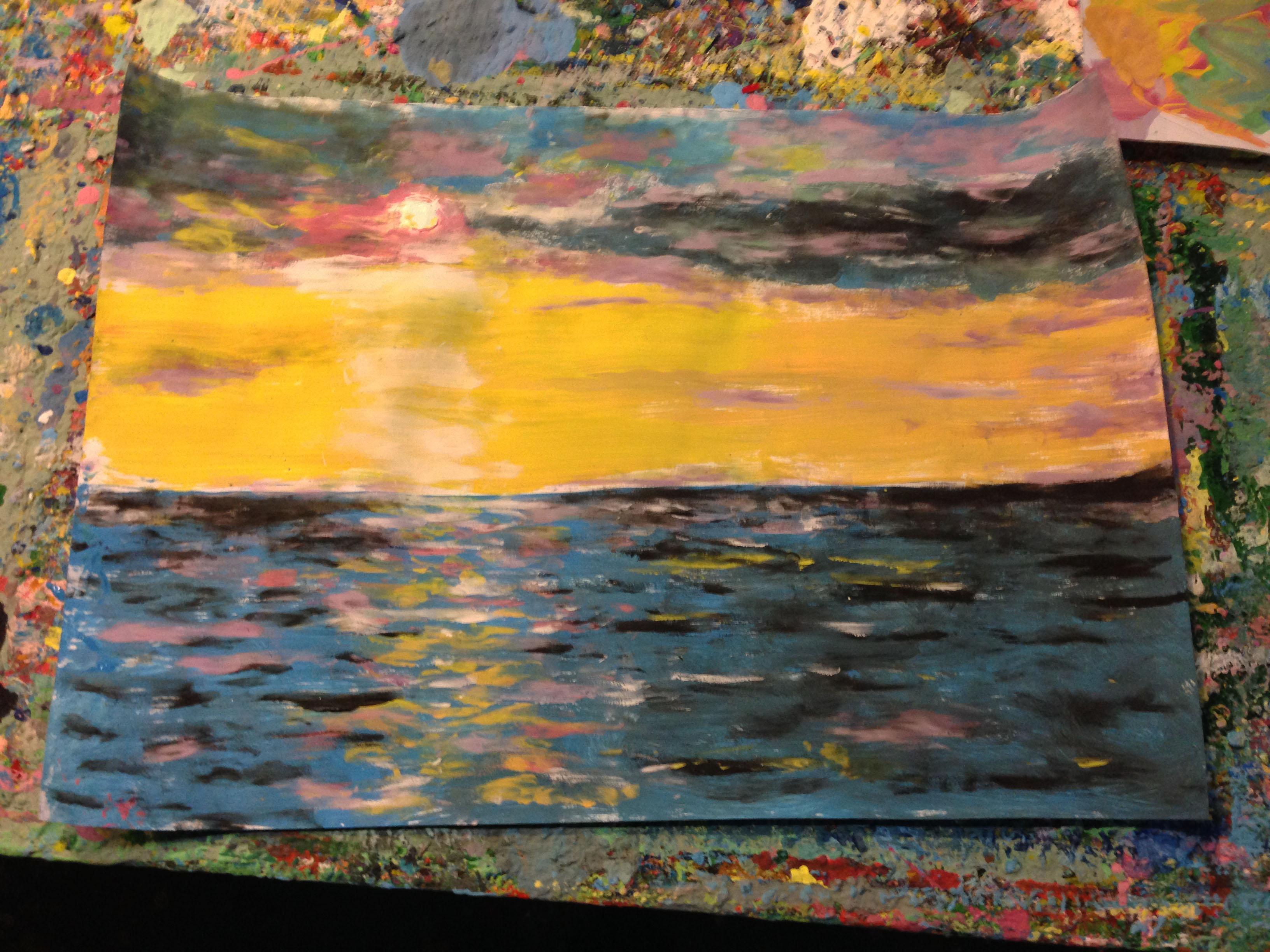 Пейзажи природы море закат Альберт Сафиуллин акрил