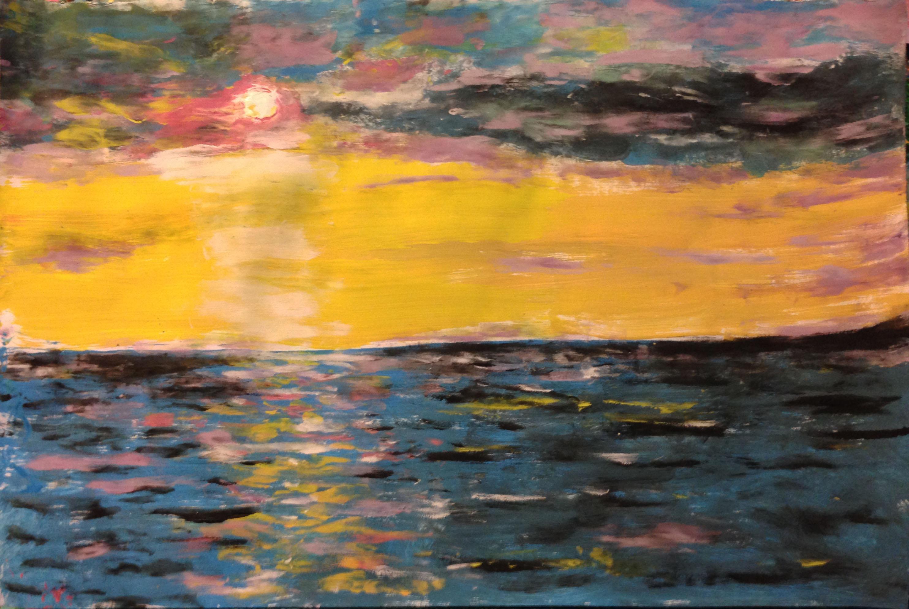 Пейзажи природы море закат Альберт Сафиуллин акриловые краски