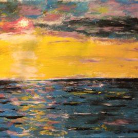 Морской закат пейзажи природы рисунок акрил художник Альберт Сафиуллин
