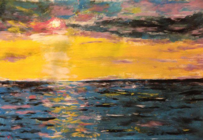 Морской закат (акриловые краски)
