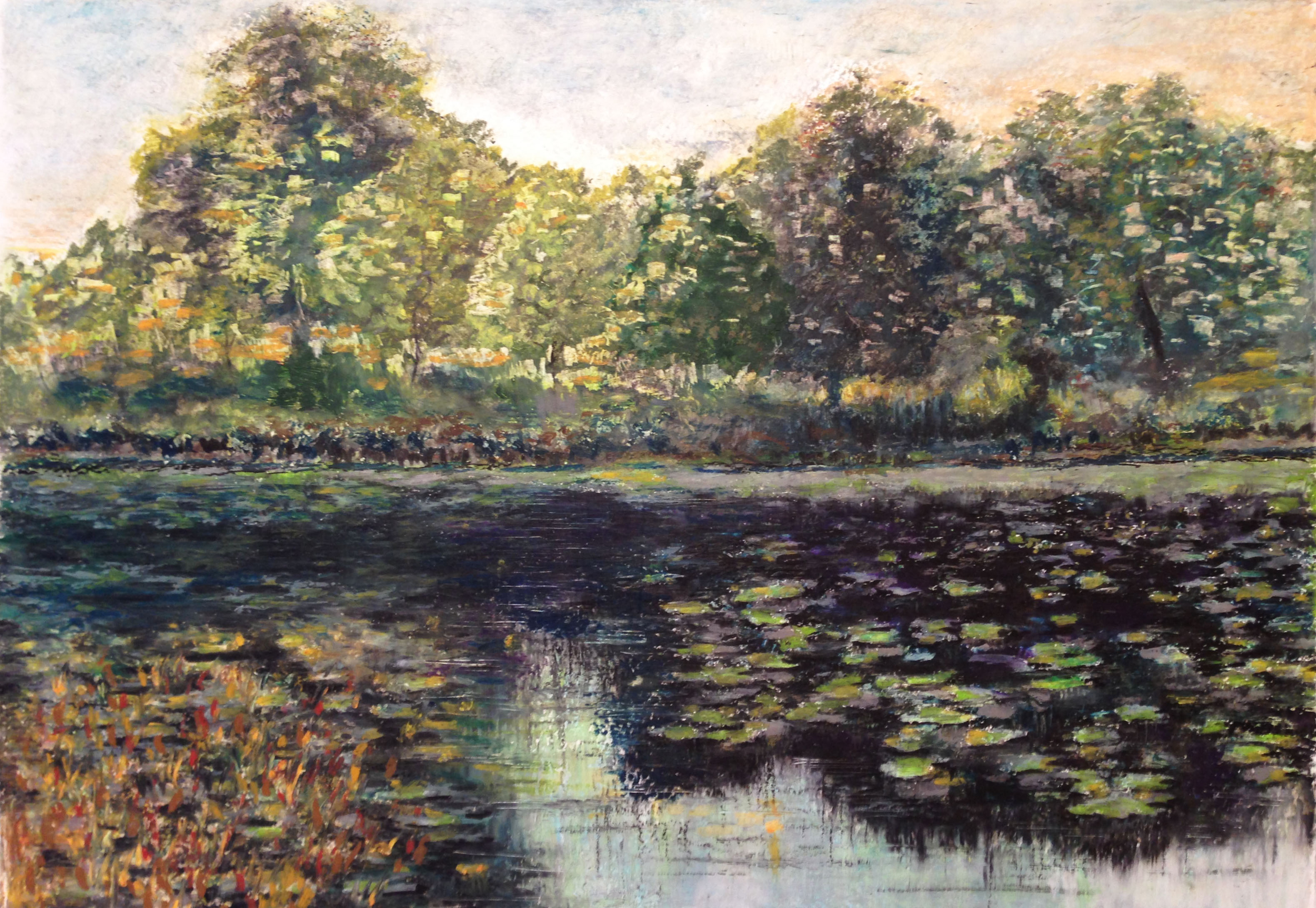 Пейзажи природы рисунок пастель пруд в лесу художник Альберт Сафиуллин
