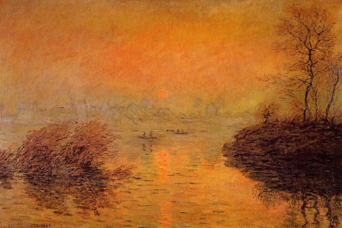 Пейзажи природы картины Клод Моне Monet закат над сеной зима Альберт Сафиуллин