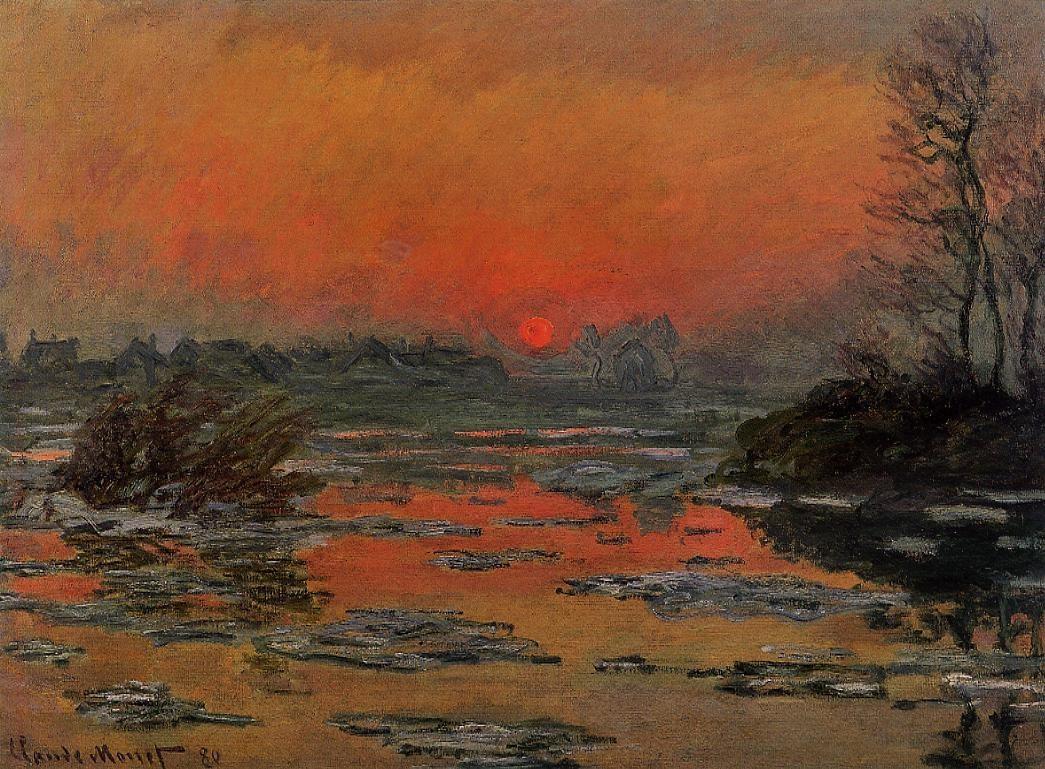 Пейзажи природы картины Клод Моне Claude Monet закат солнца зимой Альберт Сафиуллин