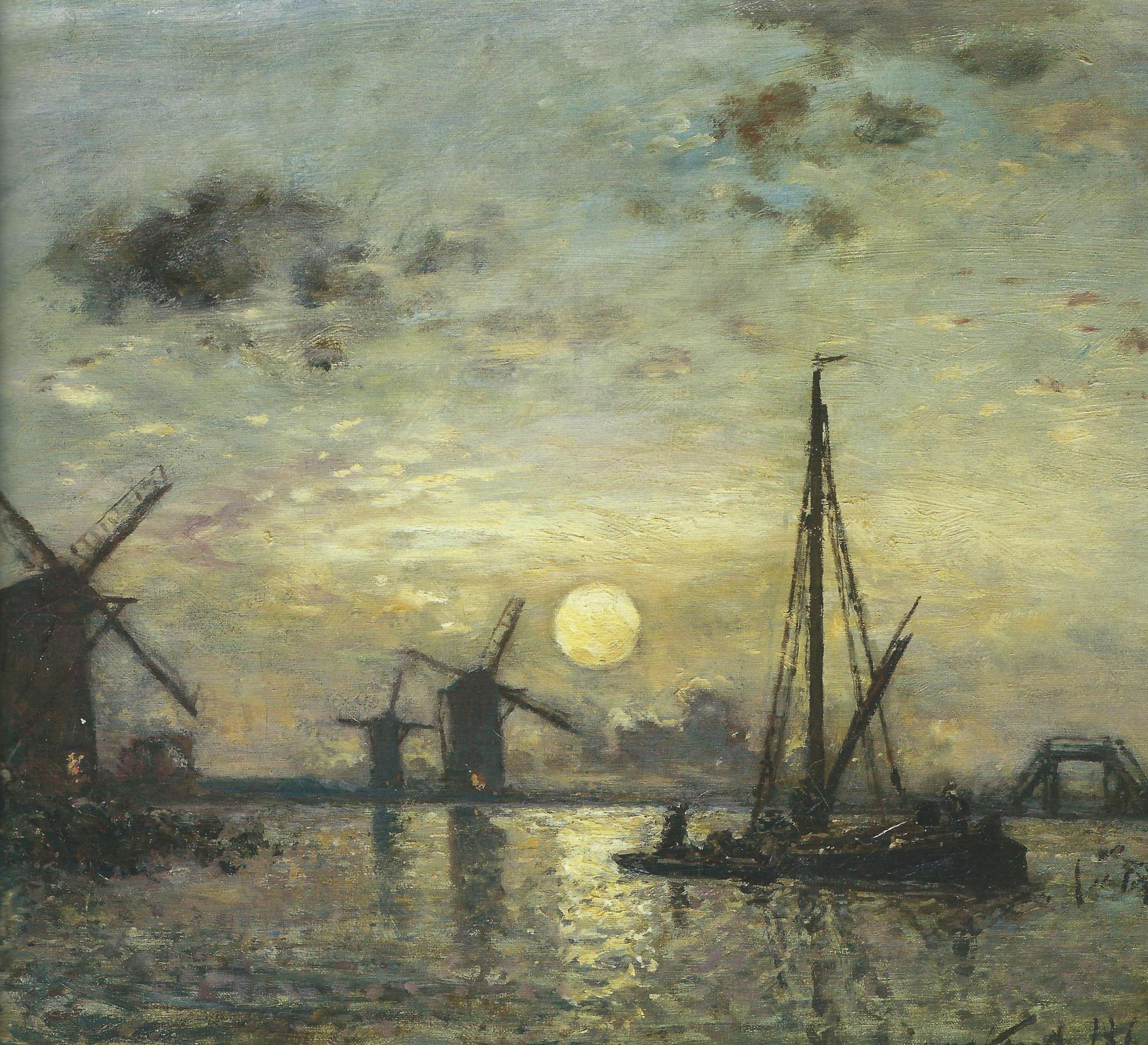 Пейзажи природы картины Ян Йонгкинд Jongkind Windmills Альберт Сафиуллин