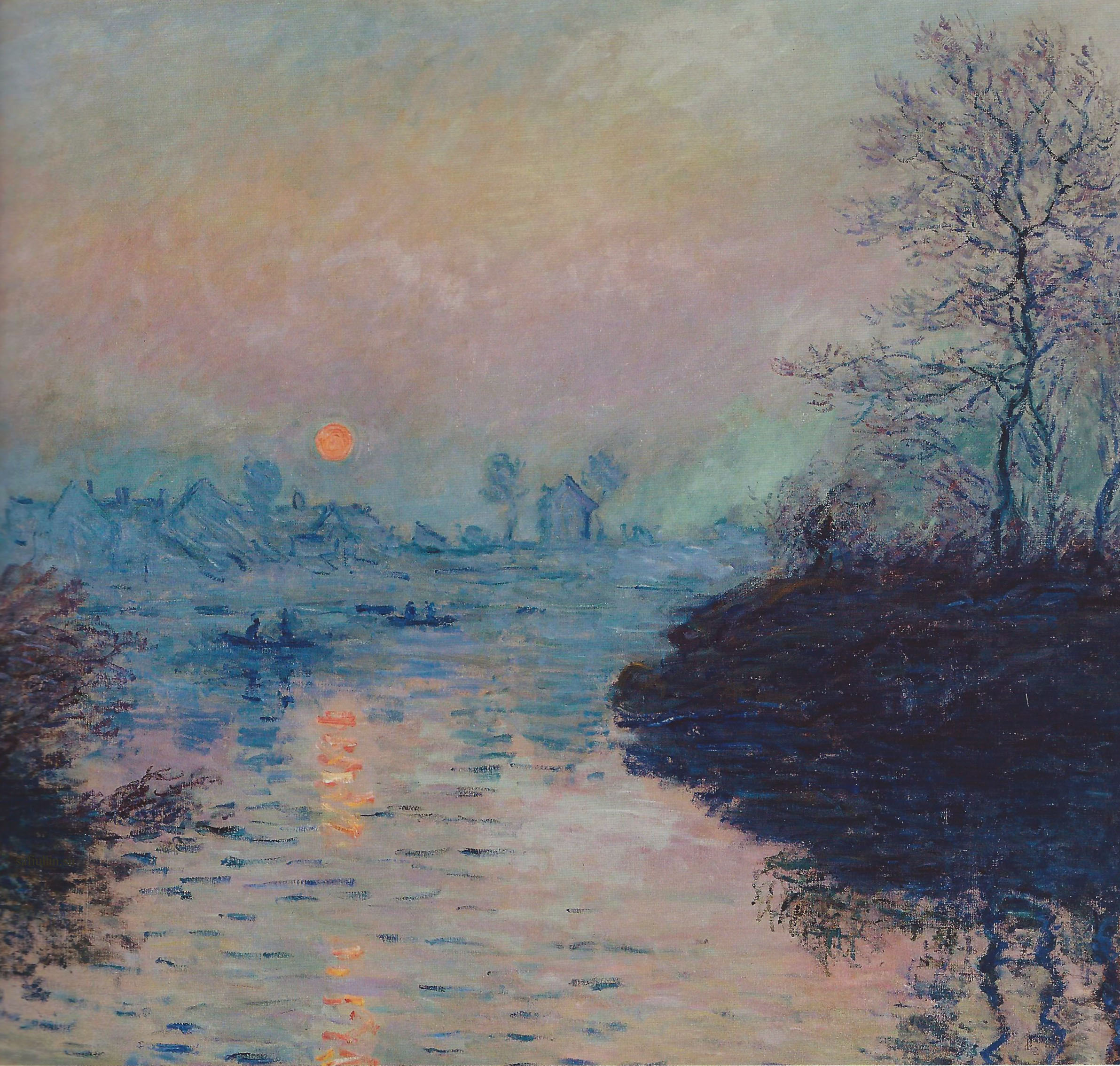 Пейзажи природы картины Клод Моне Sun Setting over the Seine Winter Effect Альберт Сафиуллин