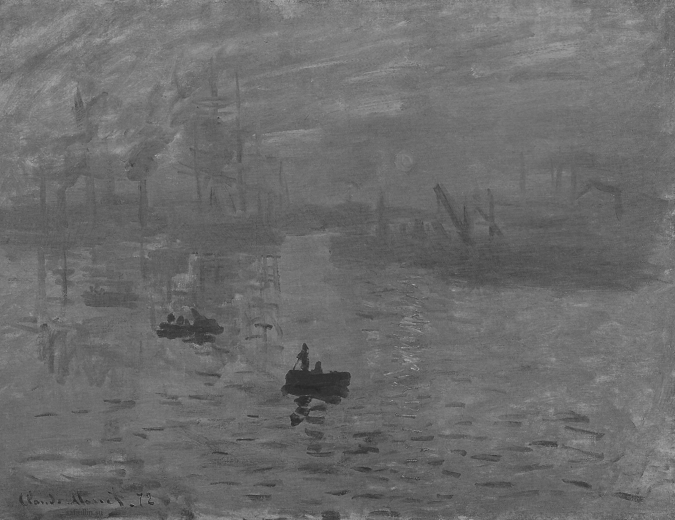 Пейзажи природы картины Клод Моне Impression монохромный вариант Альберт Сафиуллин