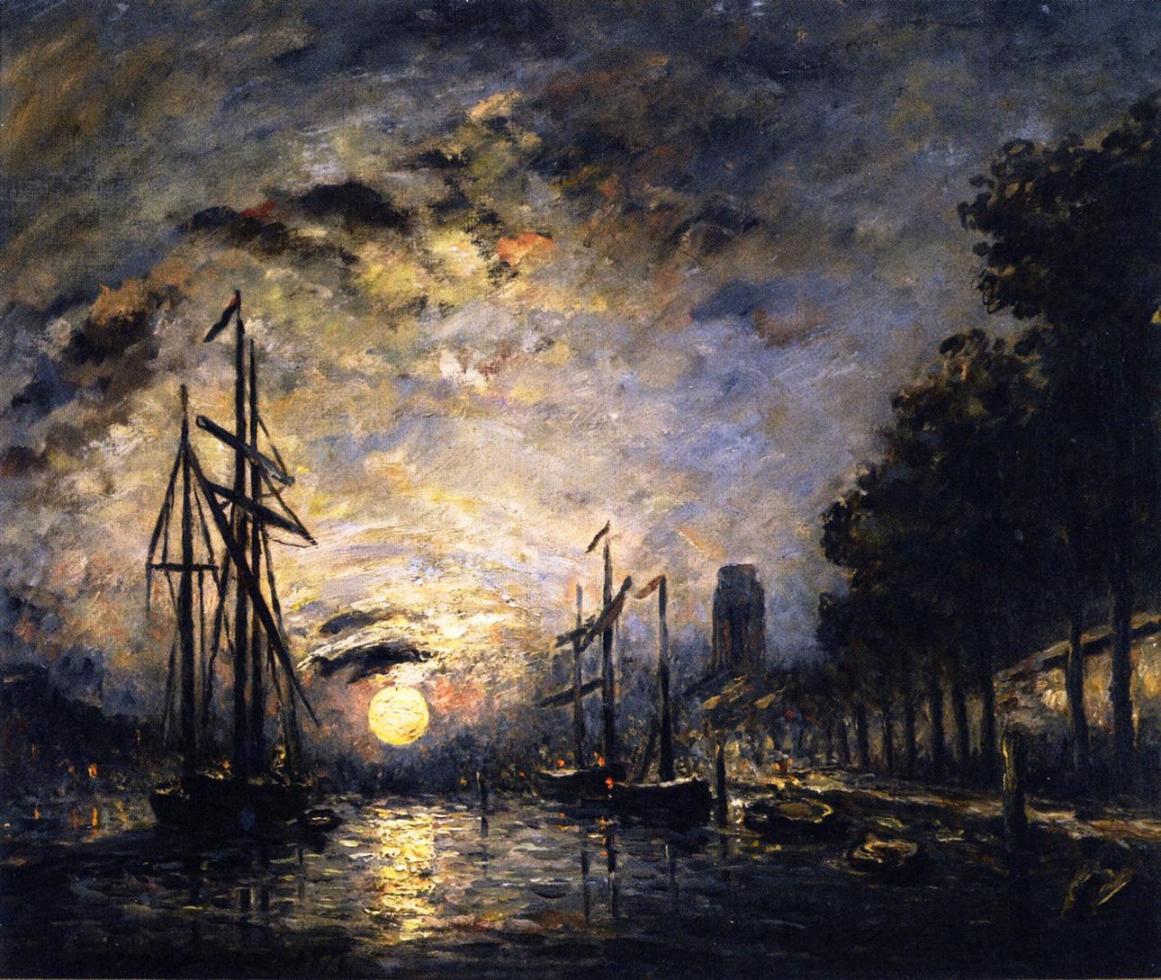 Пейзажи природы картины Ян Йонгкинд Jongkind Moonlight over a Canal Dordrecht Альберт Сафиуллин