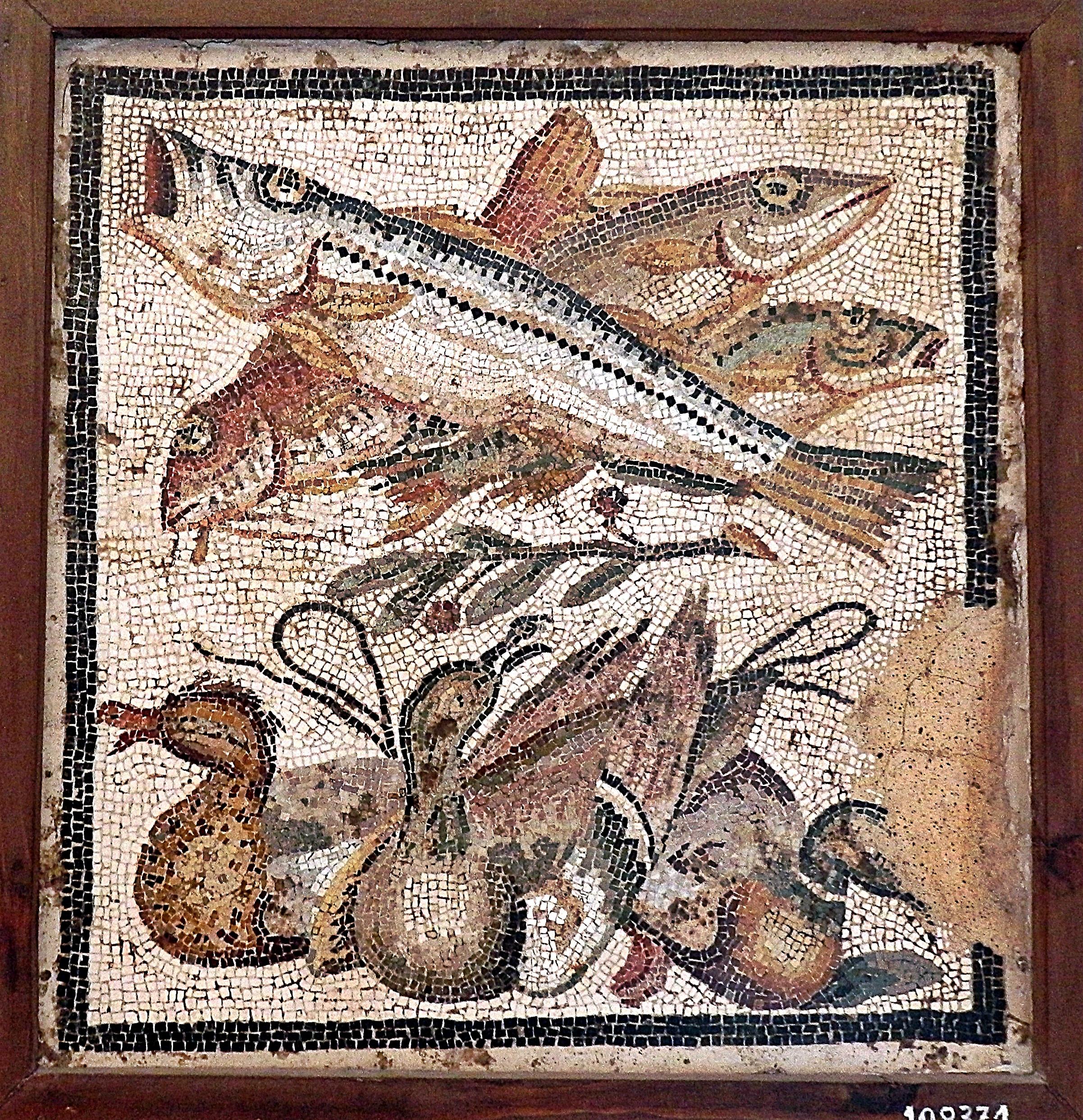 Рыба Барабулька краснобородка римская мозаика Помпеи пейзажи природы Альберт Сафиуллин