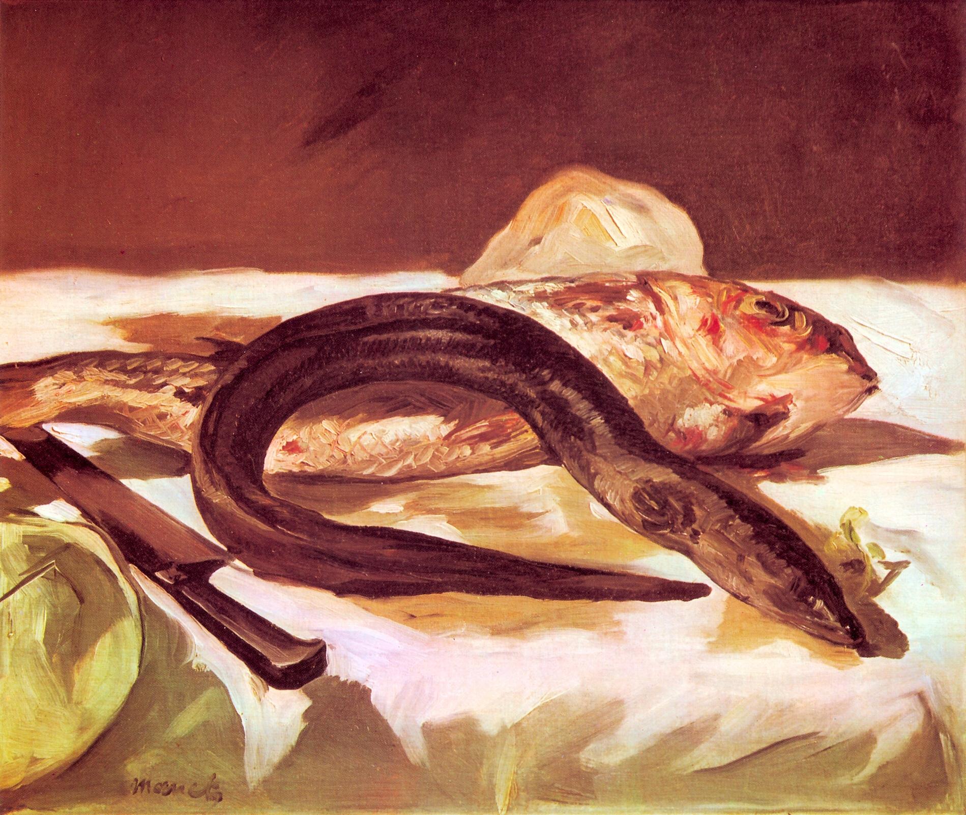 Художник Эдуард Мане Edouard Manet Угорь и барабулька Eel and Red Mullet пейзажи природы Альберт Сафиуллин