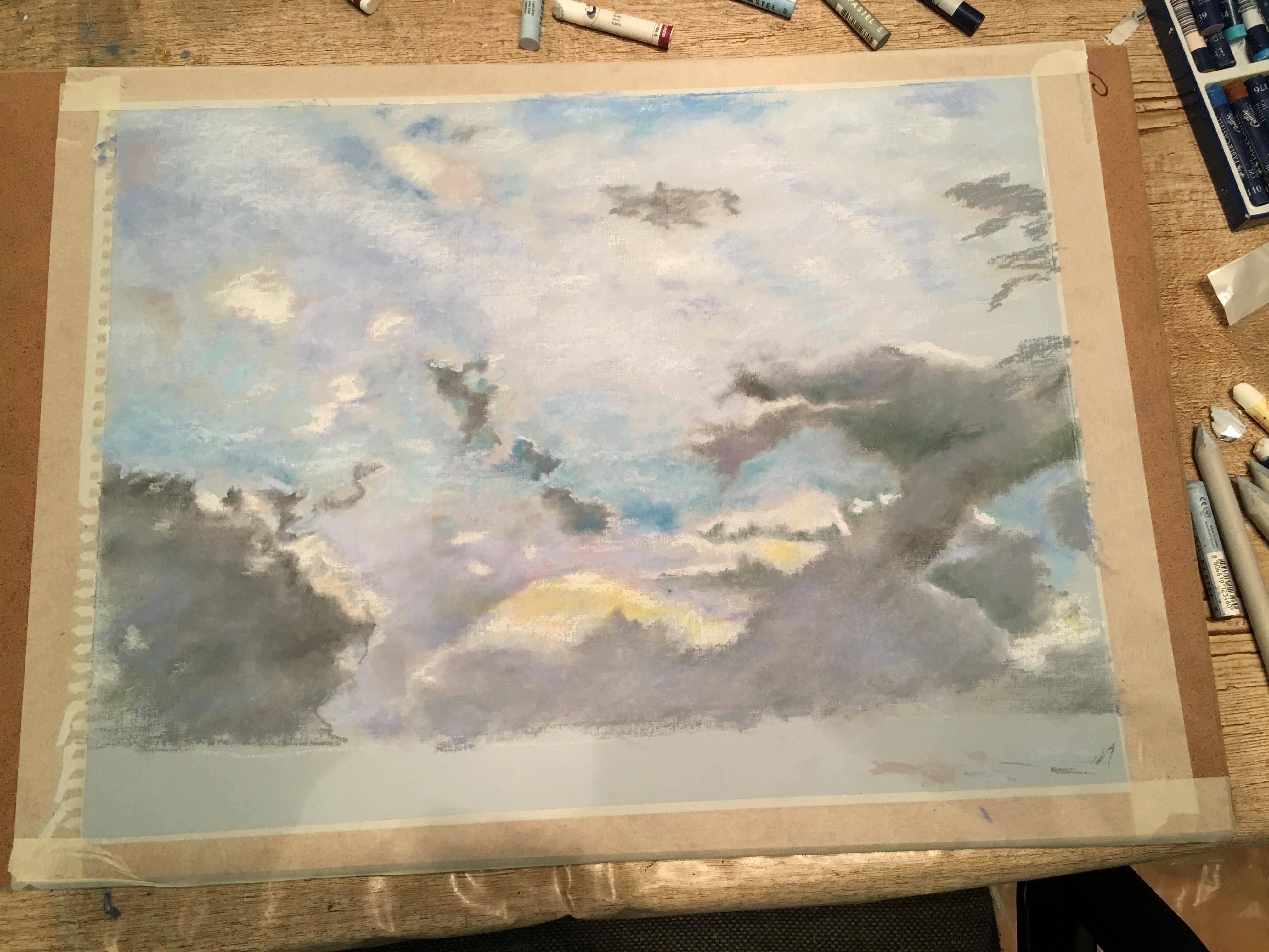 Масляная пастель рисунок Небо над Римом в январе Вид с холма Эсквилин Альберт Сафиуллин