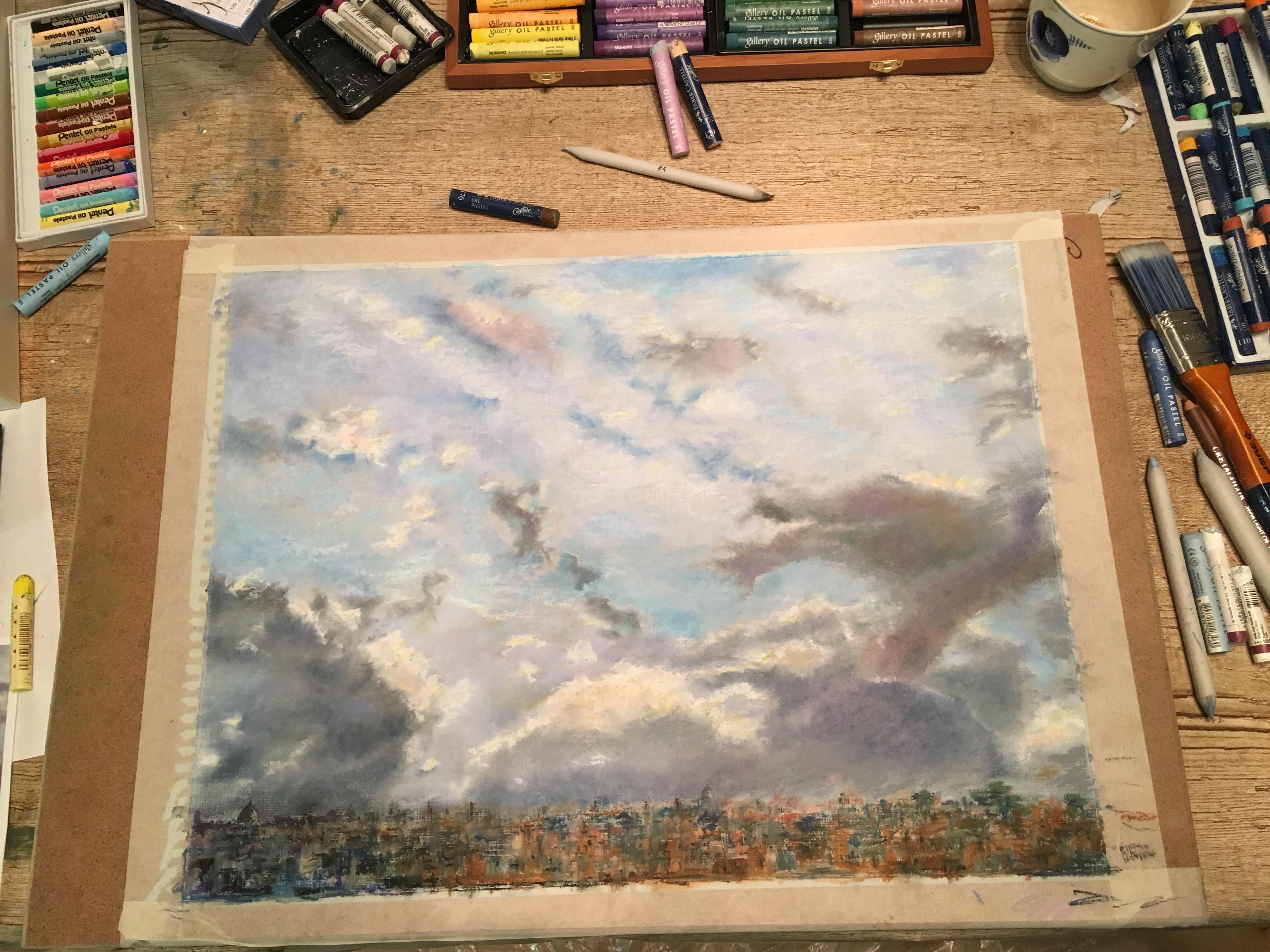Пейзажи природы Небо над Римом в январе масляная пастель Альберт Сафиуллин рисунок