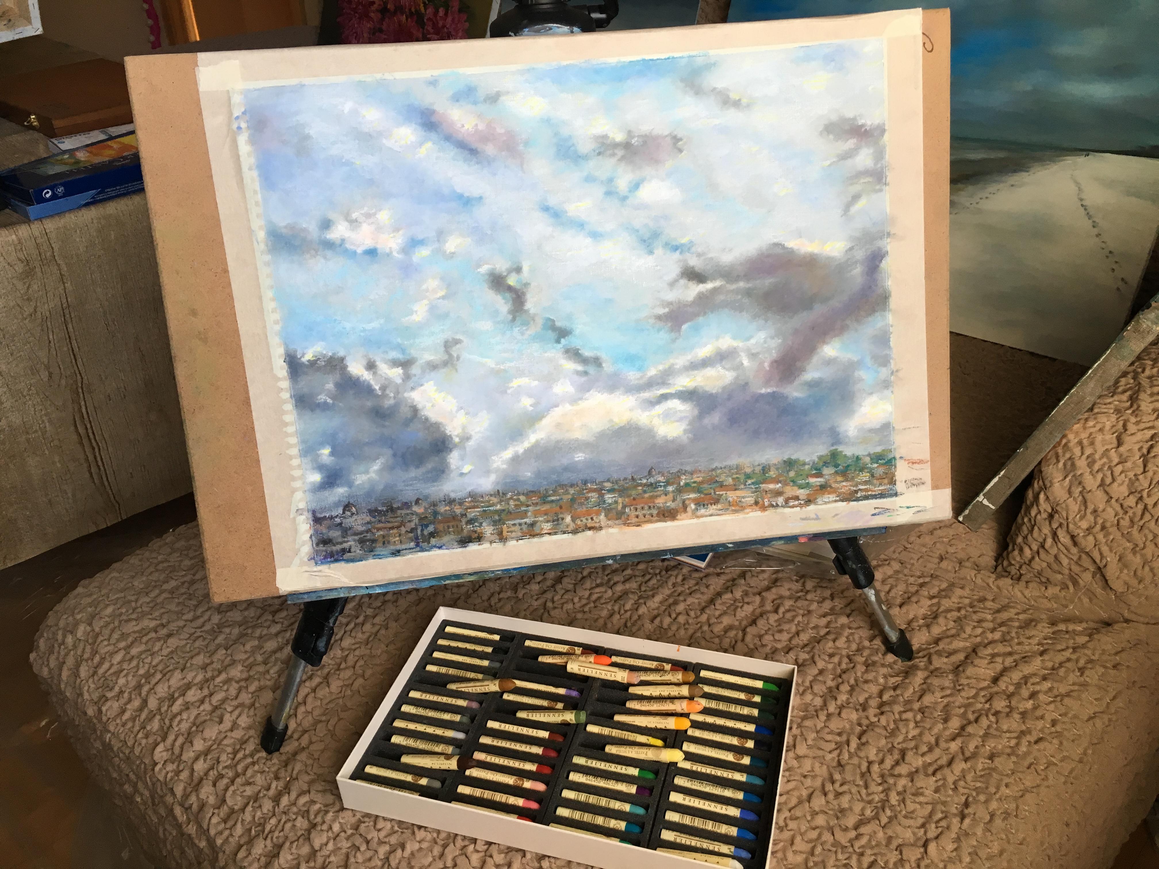 Масляная пастель рисунок Небо над Римом в январе пейзажи природы Альберт Сафиуллин