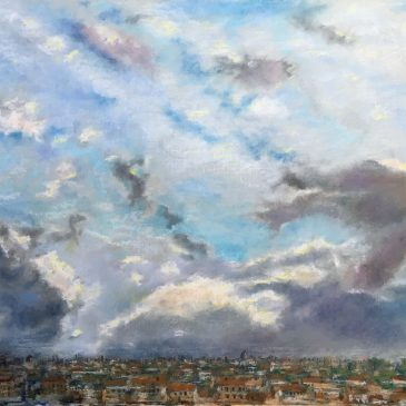 Пейзажи природы рисунок масляная пастель Альберт Сафиуллин Небо над Римом в январе Вид с холма Эсквилин