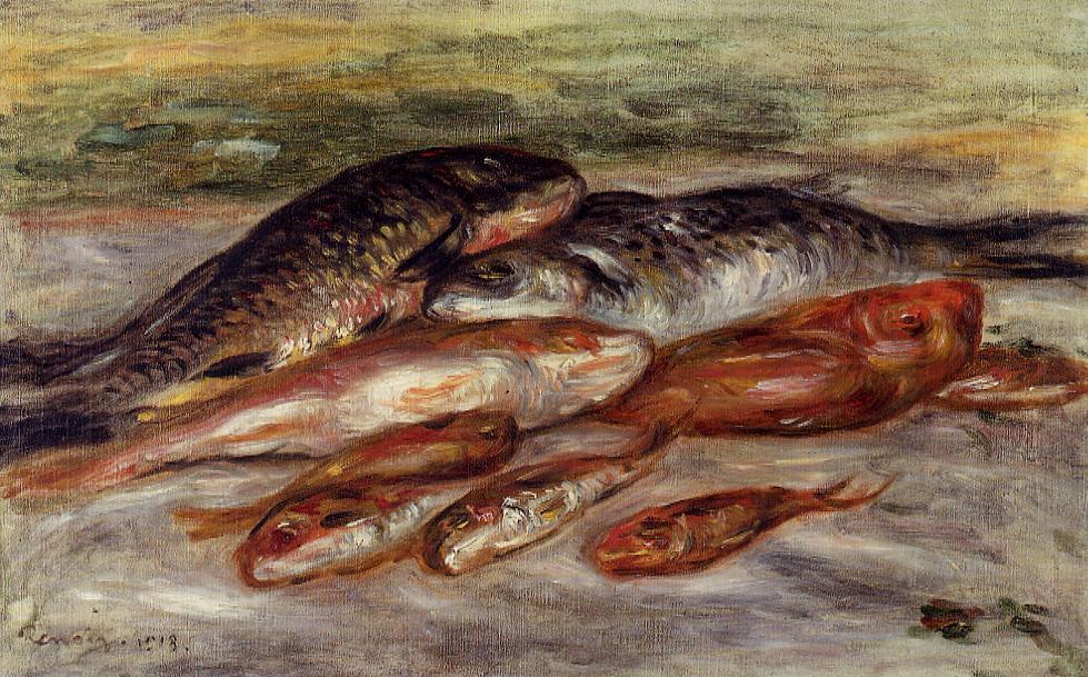 Художник Пьер Огюст Ренуар Auguste Renoir картина Натюрморт с рыбой (барабулька) пейзажи природы Альберт Сафиуллин