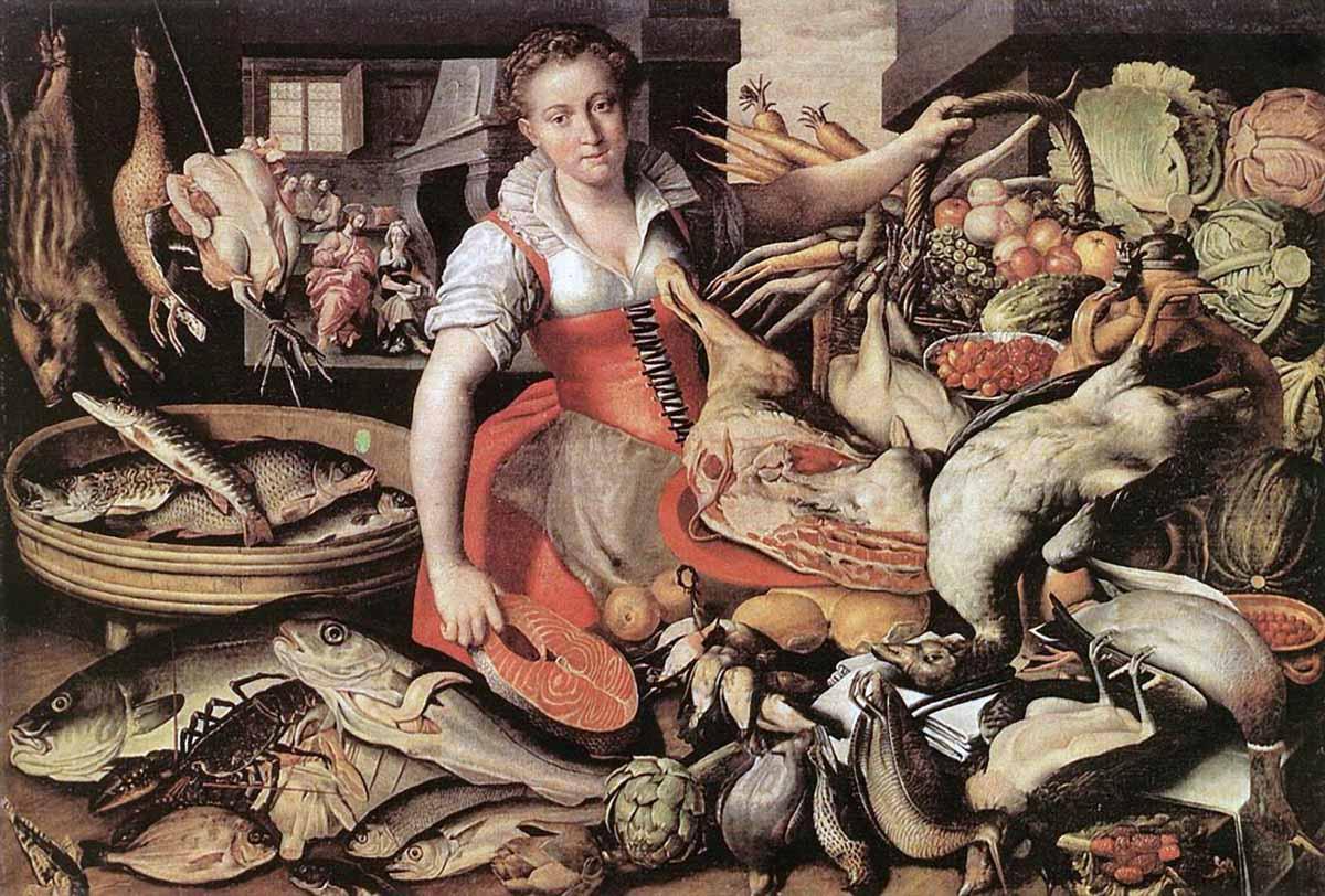 Художник Винченцо Кампи Vincenzo Campi Торговка рыбой краски природы Альберт Сафиуллин