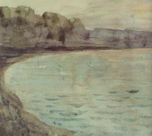 Eugene Delacroix - Cliffs near Dieppe, 1852-55 акварель (Paris, Musee Marmottan Monet) фрагмент 22