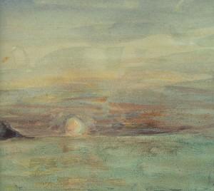 Eugene Delacroix - Cliffs ner Dieppe, 1852-55 акварель (Paris, Musee Marmottan Monet) фрагмент