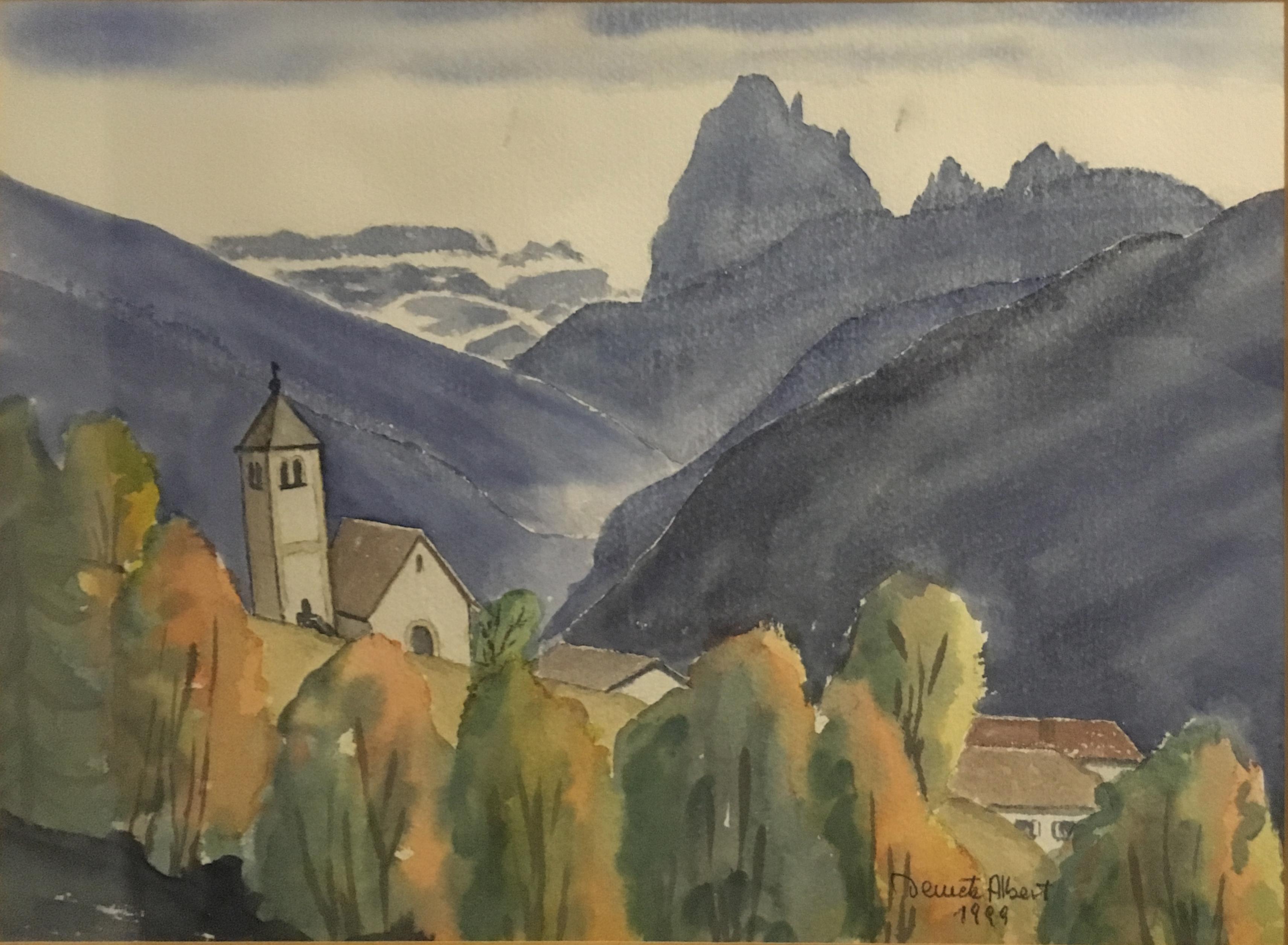 Художник Alberto Demetz рисунок Доломитовые Альпы акварель горные пейзажи природы Альберт Сафиуллин