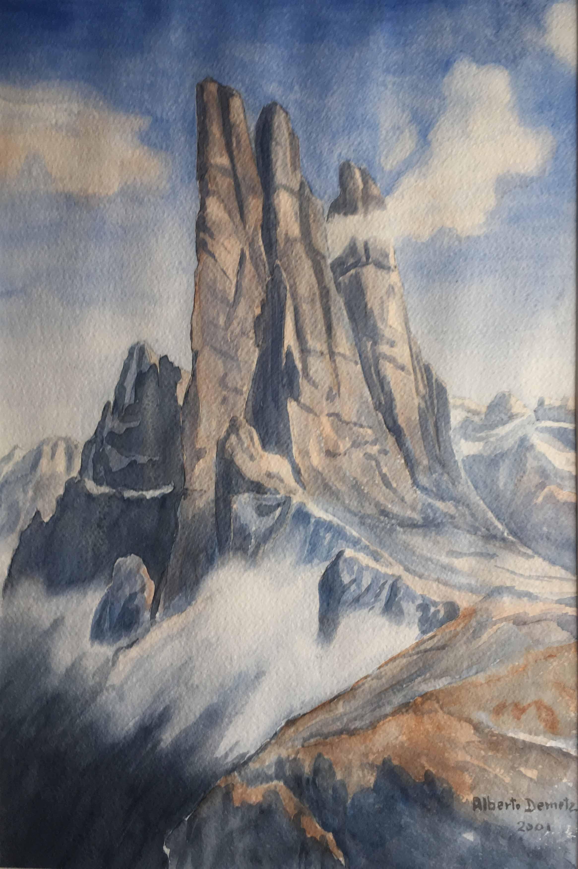 Художник Alberto Demetz Доломитовые Альпы акварель горные пейзажи природы Альберт Сафиуллин
