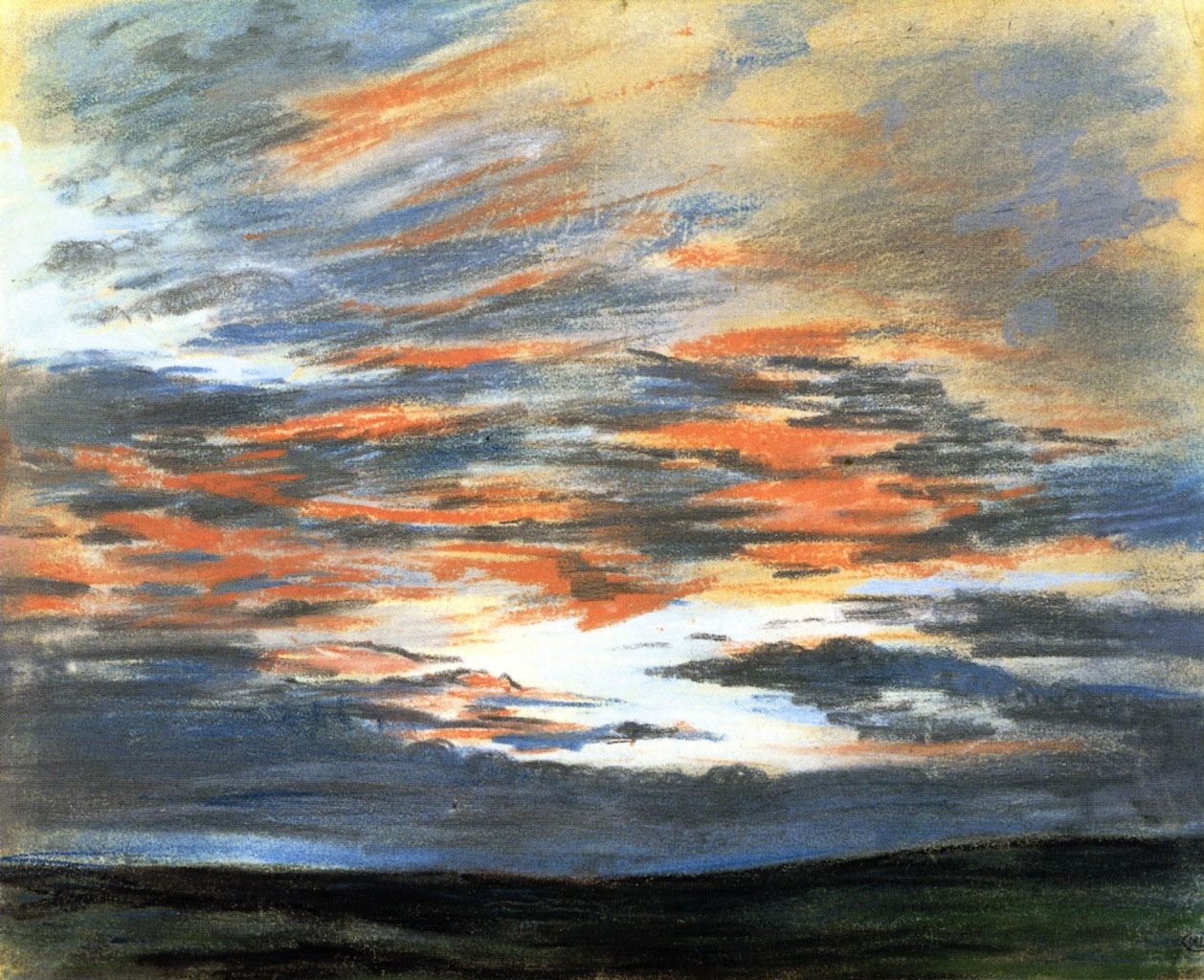 Делакруа Delacroix рисунок Sky at Sunset пастель пейзажи природы Альберт Сафиуллин